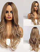 cheap -Long Curly Blonde Wig for Women  Ombre Middle Part Wig Naturally Look Synthetic Wigs Daily