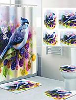 cheap -Cute Bird Cartoon Pattern Printing Bathroom Shower Curtain Leisure Toilet Four-piece Design 72 Inch