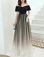 cheap -A-Line Glittering Elegant Party Wear Formal Evening Dress Off Shoulder Short Sleeve Floor Length Tulle Velvet with Sequin 2021