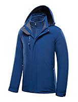 cheap -Men's Hiking 3-in-1 Jackets Ski Jacket Hiking Fleece Jacket Winter Outdoor Thermal Warm Windproof Fleece Lining Lightweight Outerwear Windbreaker Trench Coat Skiing Fishing Climbing Denim Blue Grey
