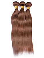 cheap -Ishow 3 Bundles Human Hair Weaves 8A Quality Color Straight Bar 4# Hair Curtain 100% Real Peruvian Wig 3 Pieces Combination Set 10-24 Inch