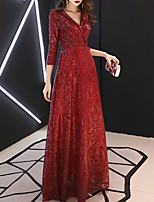 cheap -A-Line Sparkle Elegant Engagement Formal Evening Dress V Neck 3/4 Length Sleeve Floor Length Lace Sequined with Sequin 2021