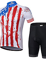cheap -21Grams Men's Short Sleeve Cycling Jersey with Shorts Summer Spandex Polyester Red Stripes American / USA Stars Bike Clothing Suit 3D Pad Quick Dry Moisture Wicking Breathable Reflective Strips Sports