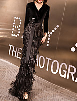 cheap -Mermaid / Trumpet Sparkle Elegant Wedding Guest Formal Evening Dress V Neck Half Sleeve Floor Length Sequined Velvet with Sash / Ribbon Sequin Tassel 2021