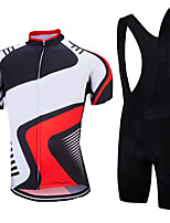 cheap -21Grams Men's Short Sleeve Cycling Jersey with Bib Shorts Summer Spandex Polyester Black / Red Stripes Bike Clothing Suit 3D Pad Quick Dry Moisture Wicking Breathable Reflective Strips Sports Stripes