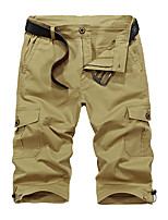 """cheap -Men's Hiking Shorts Hiking Cargo Shorts Military Solid Color Summer Outdoor 10"""" Ripstop Quick Dry Front Zipper Multi Pockets Cotton Knee Length Shorts Bottoms Army Green Grey Khaki Dark Navy Hunting"""