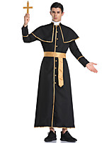 cheap -Pastor Coat Adults' Men's Halloween Halloween Halloween Festival / Holiday Terylene Black Men's Easy Carnival Costumes Solid Color / Necklace / Waist Belt