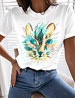 cheap -Women's Cat Abstract Painting T shirt Cat Animal Print Round Neck Basic Tops Blue Blushing Pink Green