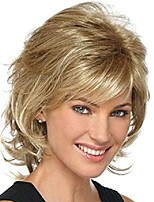 cheap -short mixed blonde curly wig with bangs natural wavy synthetic wig for women