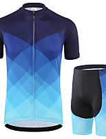 cheap -21Grams Men's Short Sleeve Cycling Jersey with Shorts Summer Spandex Polyester Black / Blue Gradient Bike Clothing Suit 3D Pad Quick Dry Moisture Wicking Breathable Reflective Strips Sports Gradient
