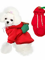 cheap -beauty cottage dog coat add velvet pet winter hoodie,sweater,cute and warm fruit costume for small medium dogs cats, red