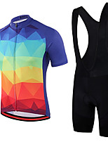 cheap -21Grams Men's Short Sleeve Cycling Jersey with Bib Shorts Summer Spandex Polyester Red+Blue Bike Clothing Suit 3D Pad Quick Dry Moisture Wicking Breathable Reflective Strips Sports Geometric Mountain