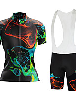 cheap -Women's Short Sleeve Cycling Jersey with Bib Shorts Summer Spandex Black Bike Quick Dry Breathable Sports Graphic Mountain Bike MTB Road Bike Cycling Clothing Apparel / Stretchy / Athletic