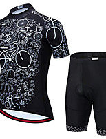 cheap -21Grams Men's Short Sleeve Cycling Jersey with Shorts Summer Spandex Polyester Black Skull Bike Clothing Suit 3D Pad Quick Dry Moisture Wicking Breathable Reflective Strips Sports Skull Mountain Bike