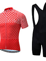 cheap -21Grams Men's Short Sleeve Cycling Jersey with Bib Shorts Summer Spandex Polyester Red Polka Dot Bike Clothing Suit 3D Pad Quick Dry Moisture Wicking Breathable Reflective Strips Sports Polka Dot