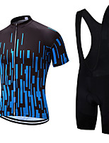 cheap -21Grams Men's Short Sleeve Cycling Jersey with Bib Shorts Summer Spandex Polyester Black / Blue Bike Clothing Suit 3D Pad Quick Dry Moisture Wicking Breathable Reflective Strips Sports Vertical