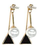 cheap -triangle balance pearl drop dangle earrings