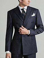 cheap -Men's Wedding Peak Tailored Fit Double Breasted Six-buttons Straight Flapped Striped Polyester