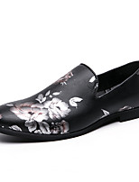 cheap -Men's Loafers & Slip-Ons Dress Loafers Penny Loafers Business Classic Daily Office & Career Walking Shoes PU Non-slipping Wear Proof Black Floral Fall Spring