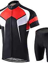 cheap -21Grams Men's Short Sleeve Cycling Jersey with Shorts Summer Spandex Polyester Red+Black Bike Clothing Suit 3D Pad Quick Dry Moisture Wicking Breathable Reflective Strips Sports Graphic Mountain Bike