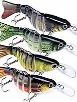 """cheap -fishing lures for bass 4 pcs trout 4""""/7 segmented multi jointed swimbaits crankbaits life-like slow sinking hard bait"""