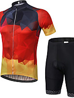 cheap -21Grams Men's Short Sleeve Cycling Jersey with Shorts Summer Spandex Polyester Red Gradient Bike Clothing Suit 3D Pad Quick Dry Moisture Wicking Breathable Reflective Strips Sports Gradient Mountain