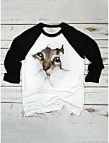 cheap -cute cat print o-neck casual t-shirt