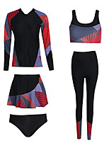 cheap -Women's Rash Guard Dive Skin Suit Nylon Swimwear UV Sun Protection UPF50+ Quick Dry Stretchy Long Sleeve Front Zip 5-Piece - Swimming Diving Surfing Snorkeling Autumn / Fall Spring Summer