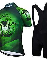 cheap -21Grams Men's Short Sleeve Cycling Jersey with Bib Shorts Summer Spandex Polyester Green Animal Bike Clothing Suit 3D Pad Quick Dry Moisture Wicking Breathable Reflective Strips Sports Animal