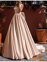 cheap -Ball Gown Beautiful Back Elegant Engagement Formal Evening Dress Scoop Neck Sleeveless Sweep / Brush Train Charmeuse with Bow(s) 2021