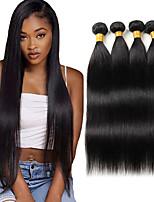 cheap -4 Bundles Hair Weaves Peruvian Hair Straight Human Hair Extensions Human Hair Bundle Hair 8-28 inch Natural Party Women Youth