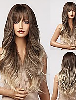 cheap -morica blonde wig with bangs long wavy wigs for women ombre ash blonde wig long wig middle part wig synthetic heat resistant wig 26 inch(brown to ash blonde ombre)