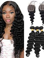 cheap -Loose Deep Wave Bundles With Closure Brazilian Human Hair Deep Curly Bundles With Closure Remy 3 bundles With Lace Closure