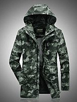 cheap -Men's Hiking Jacket Hoodie Jacket Hiking Windbreaker Outdoor Quick Dry Lightweight Breathable Sweat wicking Outerwear Coat Top Hunting Fishing Climbing Green camouflage Grey camouflage Blue camouflage