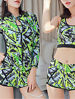 cheap -Women's Rash Guard Dive Skin Suit Spandex Swimwear UV Sun Protection UPF50+ Quick Dry Stretchy Long Sleeve 2 Piece Front Zip - Swimming Diving Surfing Snorkeling Camo / Camouflage Autumn / Fall