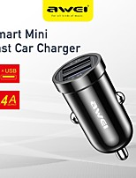 cheap -AWEI 12 W Output Power USB Car USB Charger Socket Fast Charger Portable Charger For iPad Cellphone