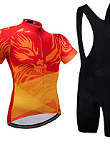 cheap -21Grams Men's Short Sleeve Cycling Jersey with Bib Shorts Summer Spandex Polyester Red Bike Clothing Suit 3D Pad Quick Dry Moisture Wicking Breathable Reflective Strips Sports Graphic Mountain Bike