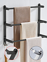 cheap -Bathroom Three-layer Shelf with Hooks Stainless Steel Multi-function Towel Rack Wall Mounted Matte Black and Chrome 1pc