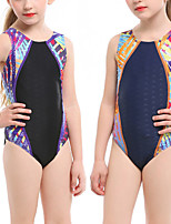 cheap -Girls' One Piece Swimsuit Nylon Spandex Swimwear Quick Dry Stretchy Sleeveless Swimming Surfing Water Sports Patchwork Summer / Kid's