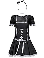 cheap -Uniforms Dress Adults' Women's Maid Uniforms Halloween Halloween Halloween Carnival Festival / Holiday Terylene Black Women's Easy Carnival Costumes Solid Color / Headwear / Neckwear