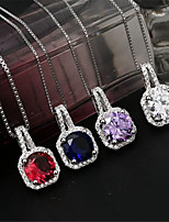 cheap -Pendant Necklace Charm Necklace Women's Geometrical Zircon Silver Plated Precious Fashion Lovely Wedding Purple Red Blue White 45 cm Necklace Jewelry 1pc for Christmas Wedding Gift Daily Work Square