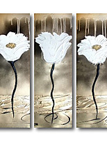 cheap -Oil Painting Handmade Hand Painted Wall Art Flowers Plant Three Panels Silver White Home Decoration Dcor Stretched Frame Ready to Hang