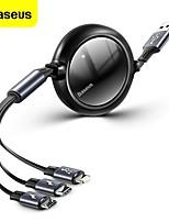 cheap -BASEUS Micro USB Lightning USB C Cable 1 to 3 3.5 A 1.2m(4Ft) Aluminum TPE For Macbook iPad Samsung Phone Accessory