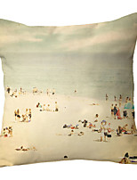cheap -Beach Vacation Double Side Cushion Cover 1PC Soft Decorative Square Throw Pillow Cover Cushion Case Pillowcase for Sofa Bedroom Livingroom Outdoor Superior Quality Machine Washable Outdoor Cushion for Sofa Couch Bed Chair