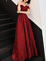 cheap -A-Line Minimalist Elegant Party Wear Formal Evening Dress Off Shoulder Short Sleeve Floor Length Lace with Criss Cross 2021