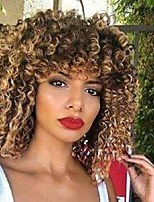 cheap -Ombre Blonde Yellow Afro Curly Synthetic Wig with Bangs, 14 Inch Shoulder Length High Temperature Heat Resistant Hair None Lace Full Wig for Women