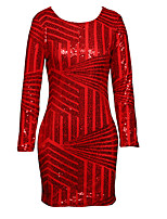 cheap -Sheath / Column Sparkle Sexy Homecoming Party Wear Dress Jewel Neck Long Sleeve Short / Mini Spandex with Sequin 2021