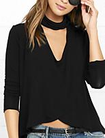 cheap -Women's T shirt Plain Long Sleeve Cut Out V Neck Basic Tops Black