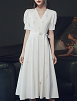 cheap -A-Line Empire Elegant Homecoming Party Wear Dress V Neck Short Sleeve Tea Length Stretch Fabric with Beading 2021