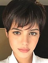 cheap -Light Brown Mixed Blonde Pixie Cut Short Wig with Bangs Dark Roots Heat Resistant Synthetic Hair Wigs for Women